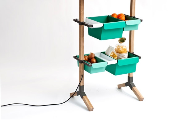 Sunday // Kitchen Grocery // Wood and bended steel 180 x 55 x 35 cm by Reinhard Dienes | Prototypes
