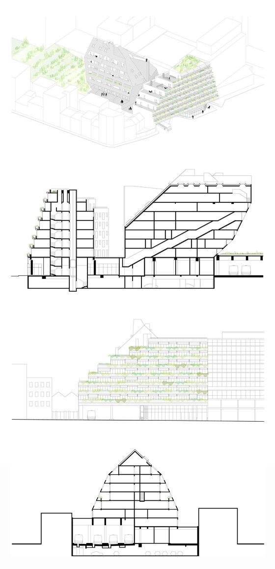 Dwellings rue Père Corentin by ecdm architects | Apartment blocks