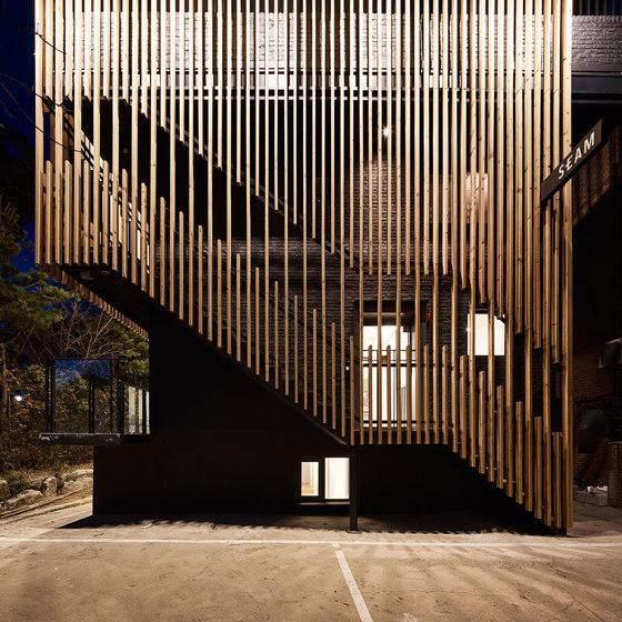 Seam center by urban society office facilities - Escaleras de madera para exteriores ...