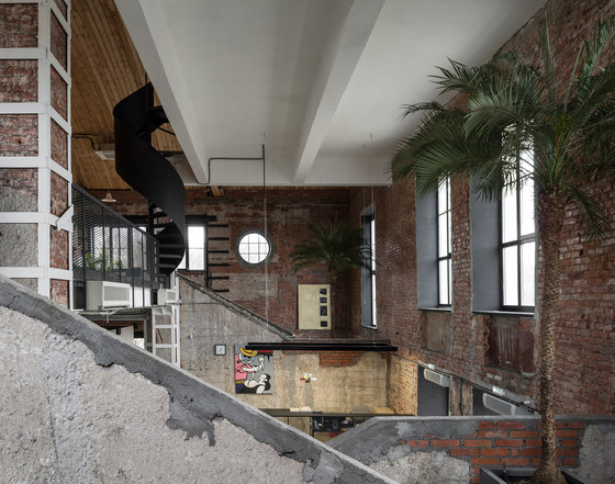 Garage headquarters by architectural bureau form office facilities