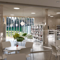 Library | game library and municipal administration | Spiez | Tiendas | bauzeit architekten