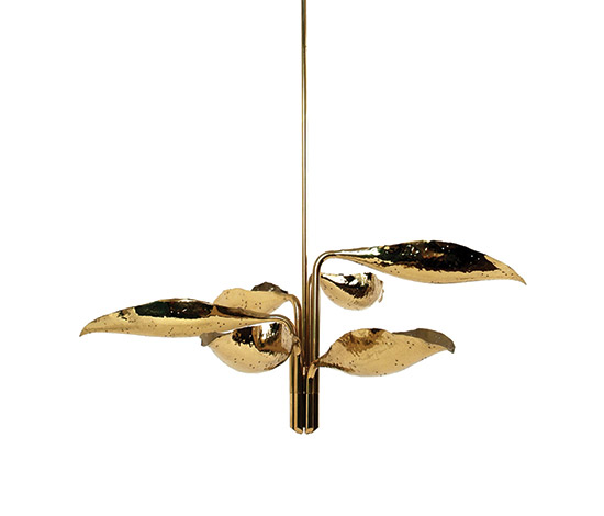 Brass leaf chandelier