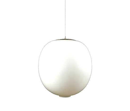 Satined glass and brass pendant lamp