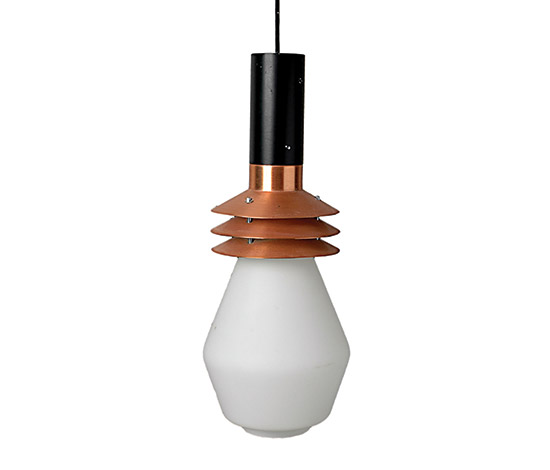 Satined glass and copper pendant lamp