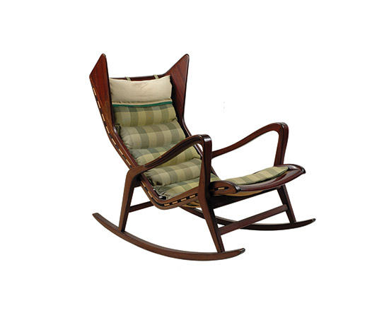 Mahogany rocking armchair