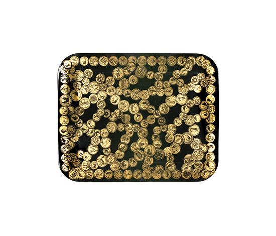 """Boetto-""""Monete antiche su fondo oro"""" tray"""
