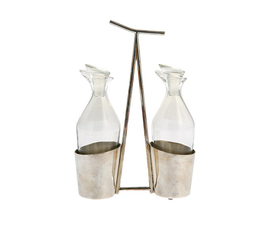 Silver plated vinegar and oil set de Boetto