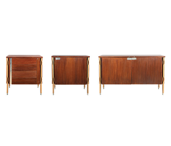Five pieces of furniture in rosewood