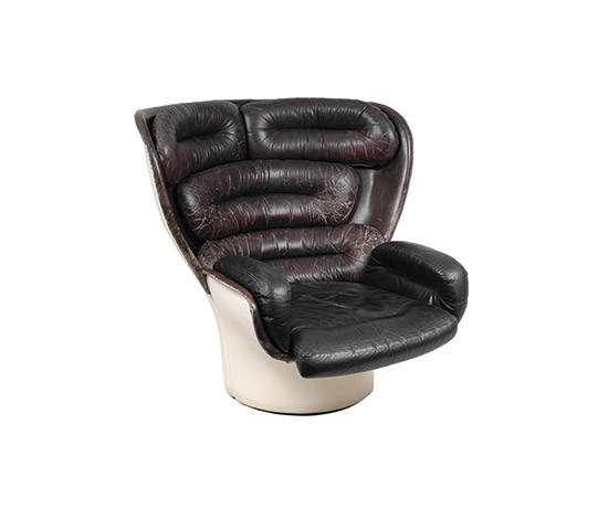 """Elda"" leather and fiberglass armchair"