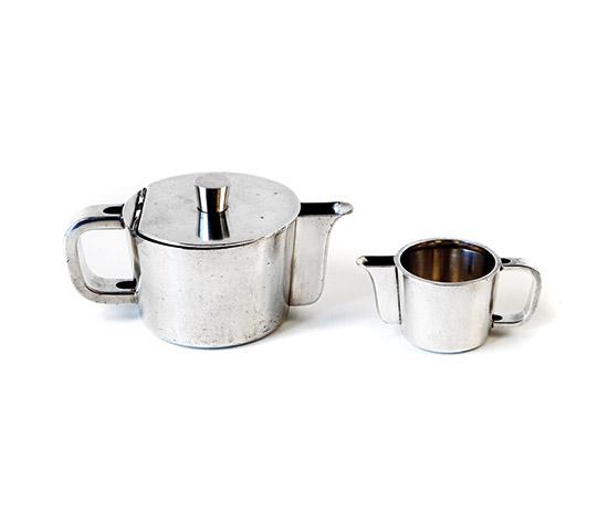 Silver plated alpaca teapot & milk jug