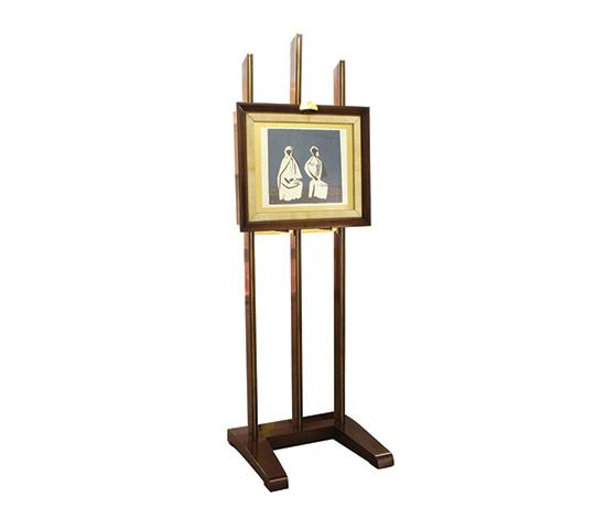 Mahogany and brass easel/bar de Boetto