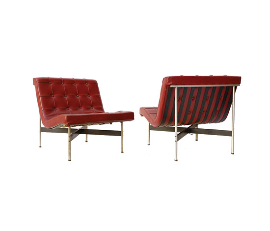 Boetto-Pair of leather lounge chairs