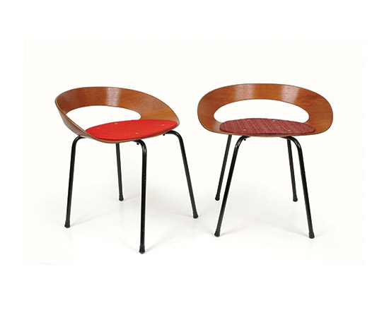 """Pair of """"Panchetti"""" plywood chairs de Boetto"""