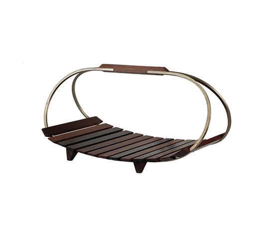 Boetto-Metal and rosewood magazine holder