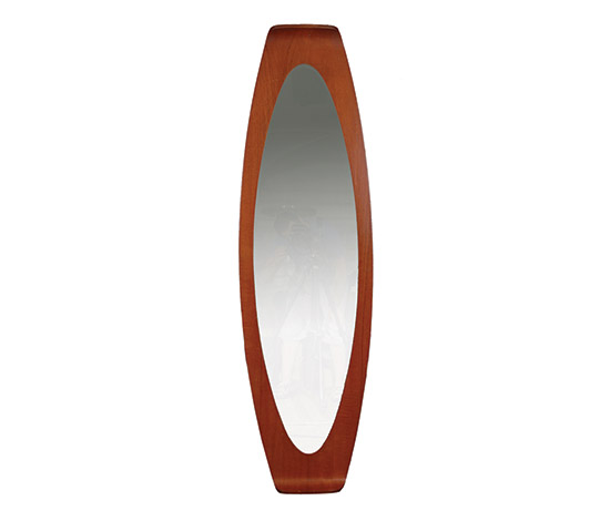 Wall mirror, bent teak frame
