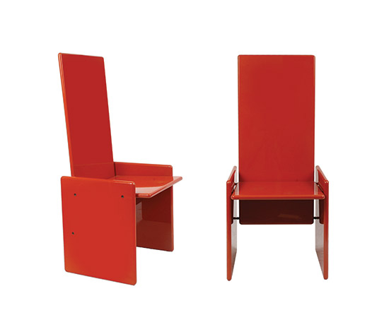 "Six ""Kazuki"" chairs, red by Boetto"