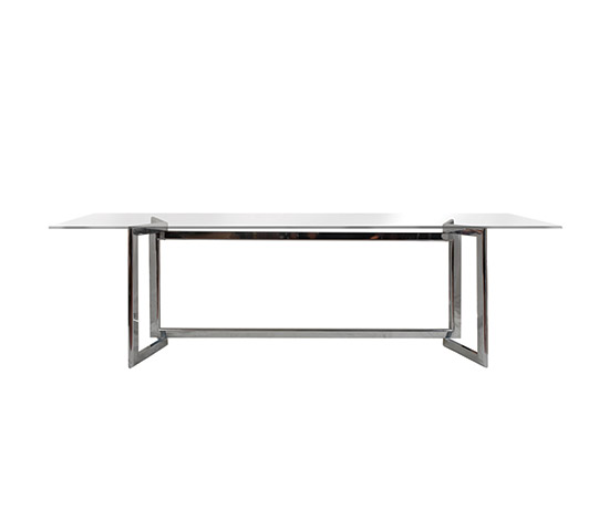 """Davide"", chromed steel and glass table by Boetto"