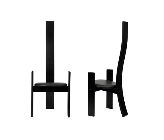 "Six ""Golem"" chairs, black von Boetto"