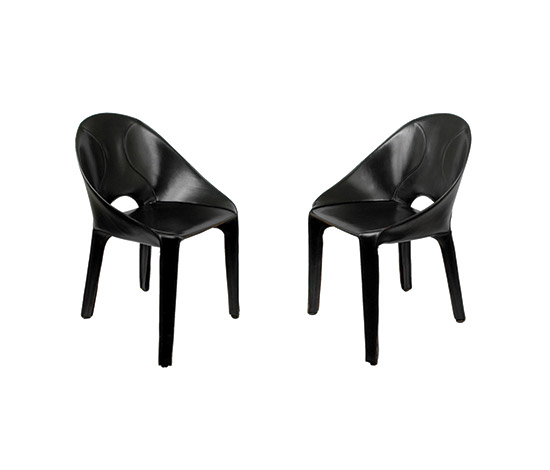 "Six ""Liuto"" leather chairs"