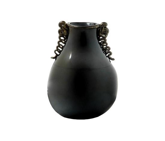 Black murano glass vase de Boetto