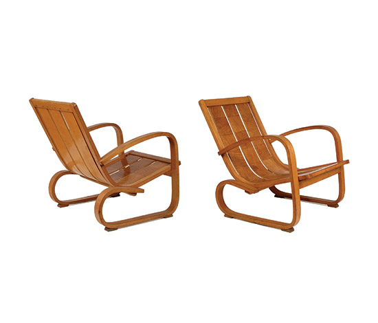 Two rationalist bent wood armchairs by Boetto