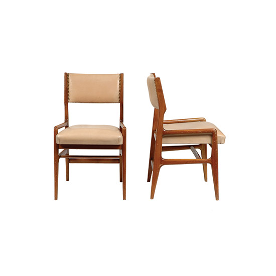 Pair of upholstered ash wood chairs di Boetto