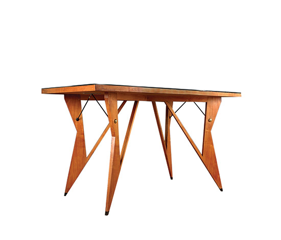 Maple wiriting table w. framed glass top