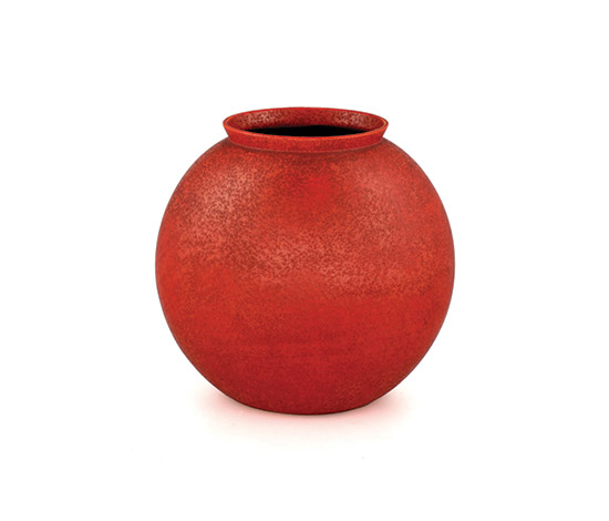Red earthenware vase, mod. 1316/4 by Boetto