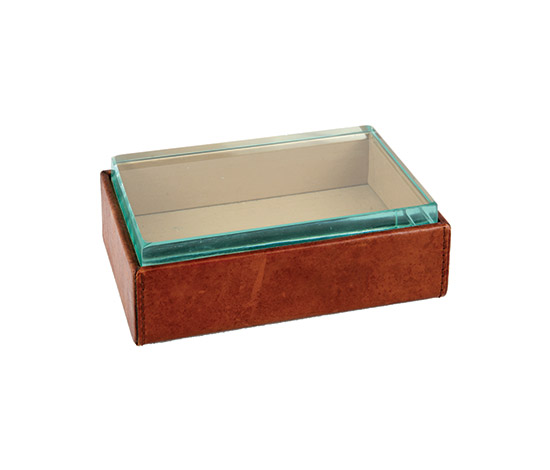 Box, glass and leather