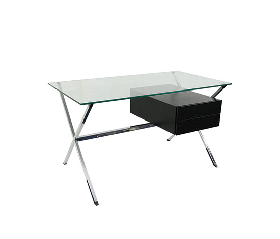 Glass and chromed steel desk