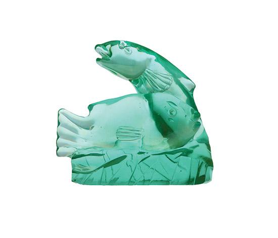 """Boetto-Murano """"verde nord irisé"""" glass fishes"""