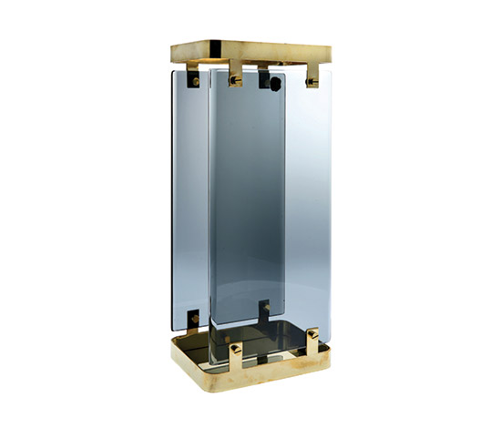 Crystal / polished brass umbrella stand de Boetto