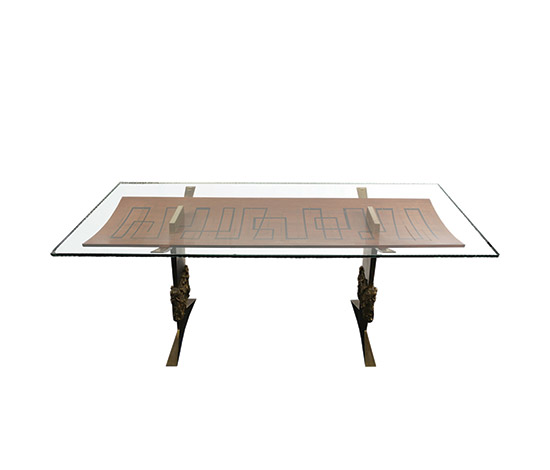 Boetto-Bronze and crystal table, eight chairs