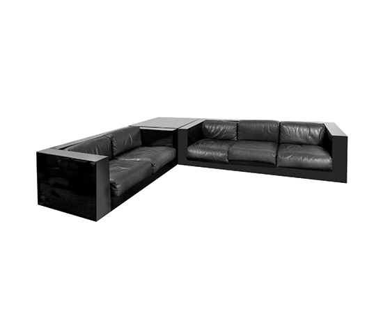 "Two ""Saratoga"" sofas with coffee table by Boetto"