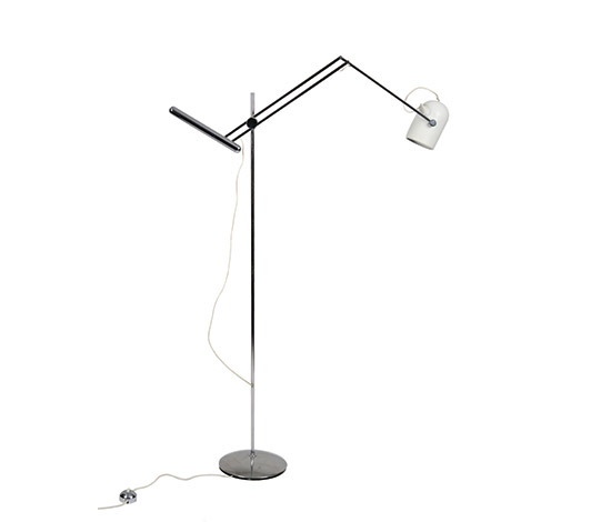 Chrome-plated steel/aluminum floor lamp de Boetto
