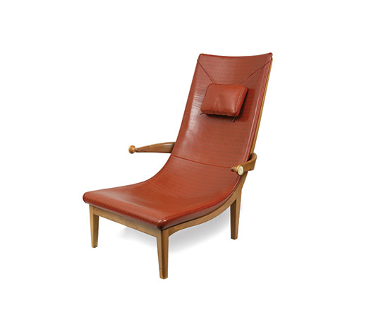 """Senna"" nutwood and leather armchair"