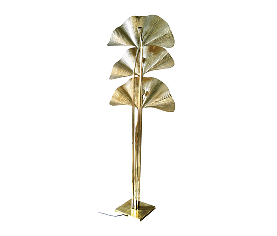 Polished brass floor lamp