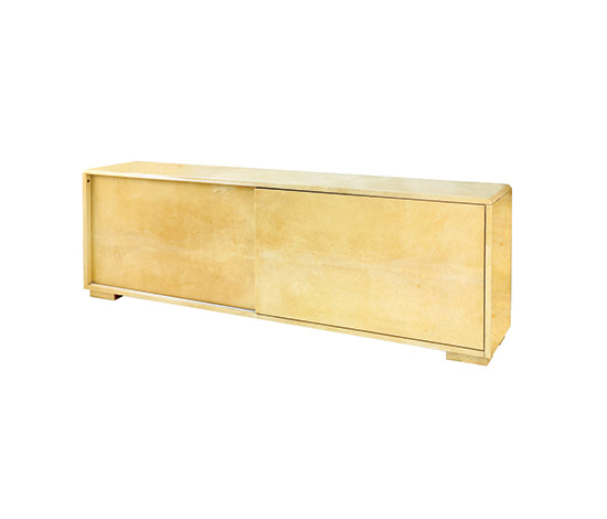 Polished pigmented parchment sideboard