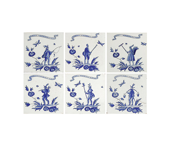 "Boetto-Six ceramic tiles, ""Ermione"" series"