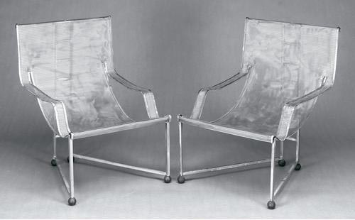 Steel Mesh Open Armchairs