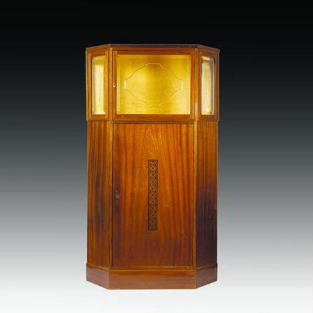 Inlaid mahogany vitrine
