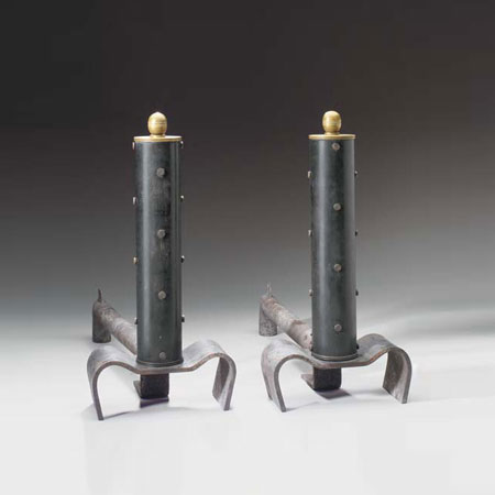 Metal andirons, pair