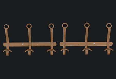 Leather coat hooks, pair by Christie`s