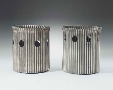 Metal wastepaper baskets, pair
