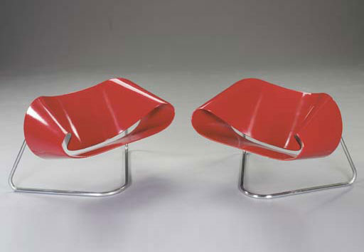 Ribbon lounge chairs, pair