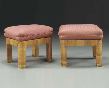 Bamboo wrapped stools, pair