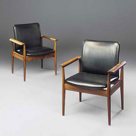 Diplomat chairs, pair
