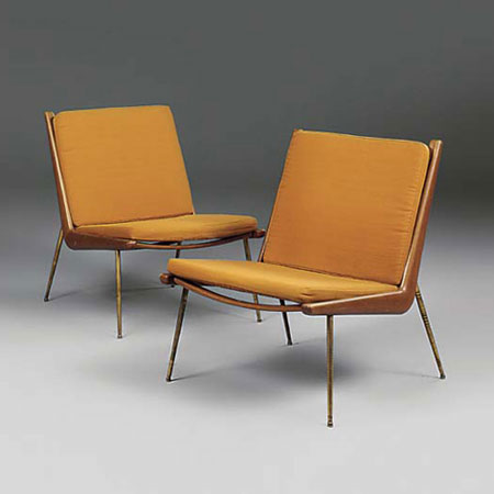 Boomerang lounge chairs, pair