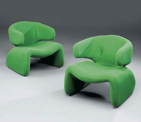 Djinn armchairs, pair