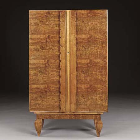 Brass inlaid walnut armoire